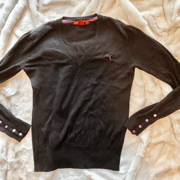 PUMA Black Sweater with Pink detail